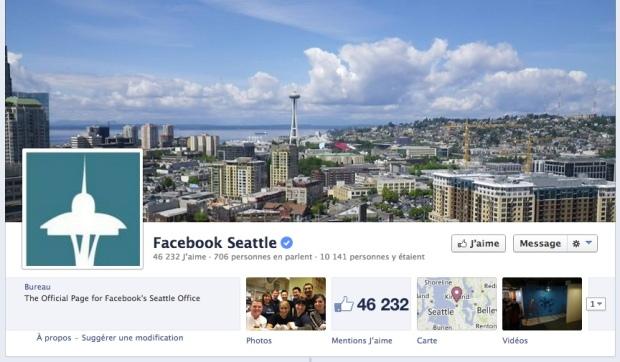 La page Facebook qui permet de suivre la vie du bureau Facebook de Seattle.